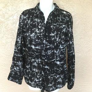 Michael Kors Black White Tie Dye Shirt 8 M